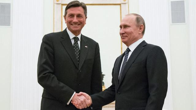 President Vladimir Putin says he's grateful to Slovenia for its offer to host his first meeting with U.S. President Donald Trump, adding that it will depend on Washington.