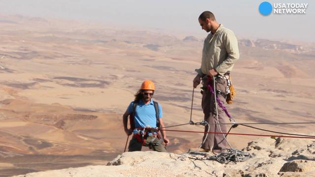 Makhtesh Ramon is a geological feature of Israel's Negev desert. Watch Dayvee Sutton rappelling down the 1,600-foot formation.