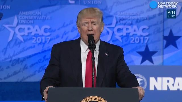 """During his CPAC speech, President Trump again called """"the fake news the enemy of the people,"""" but this time he elaborated on his meaning."""