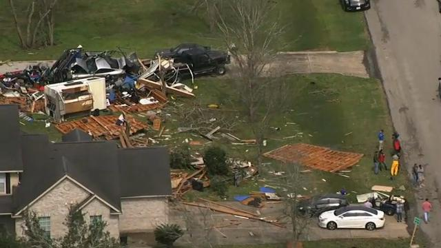 Residents of a coastal area southwest of Houston are cleaning up debris after severe storms, including at least six tornadoes, swept through the area Tuesday. (Feb. 15)