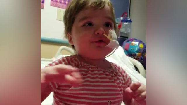 Adorable little girl sings and dances through her sickness