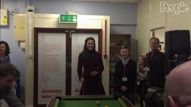 The Duchess of Cambridge's pool game could use a little work!