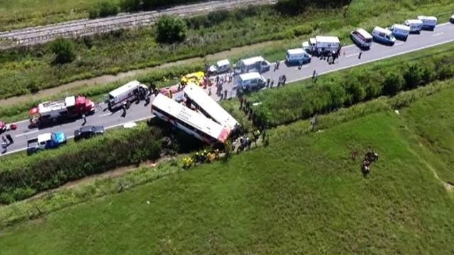 Thirteen people are killed and 34 injured when two buses collided head-on in eastern Argentina, the emergency services says. Video provided by AFP