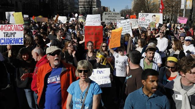 The original protest was organized as a way to speak out against President Trump's policies, but it grew to encompass a number of issues.  Video provided by Newsy