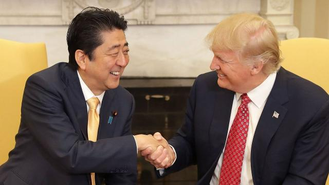 During prime minister's visit, Trump commits to defending Japan
