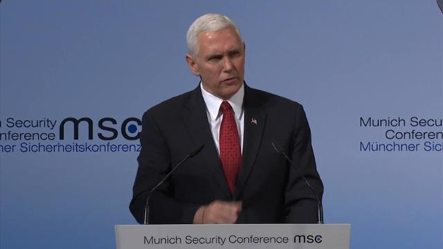 Vice President Mike Pence told attendees at the Munich Security Conference that Russia must be held accountable for its actions in Ukraine.  He also said the U.S. strongly supports NATO, but alliance members must spend more on defense. (Feb. 18)