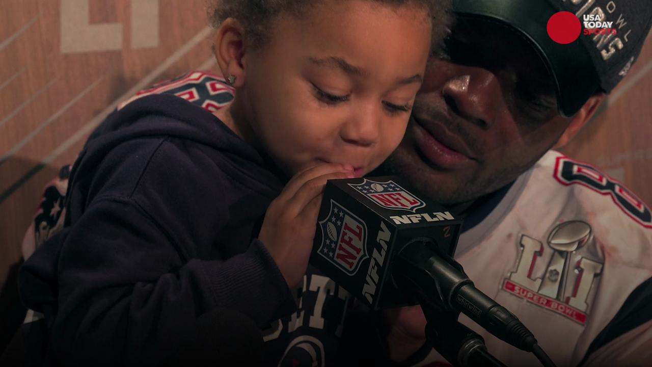 The New England Patriots tight end is known for being outspoken, but it was his 2-year-old daughter who stole the show at his press conference following Super Bowl LI.
