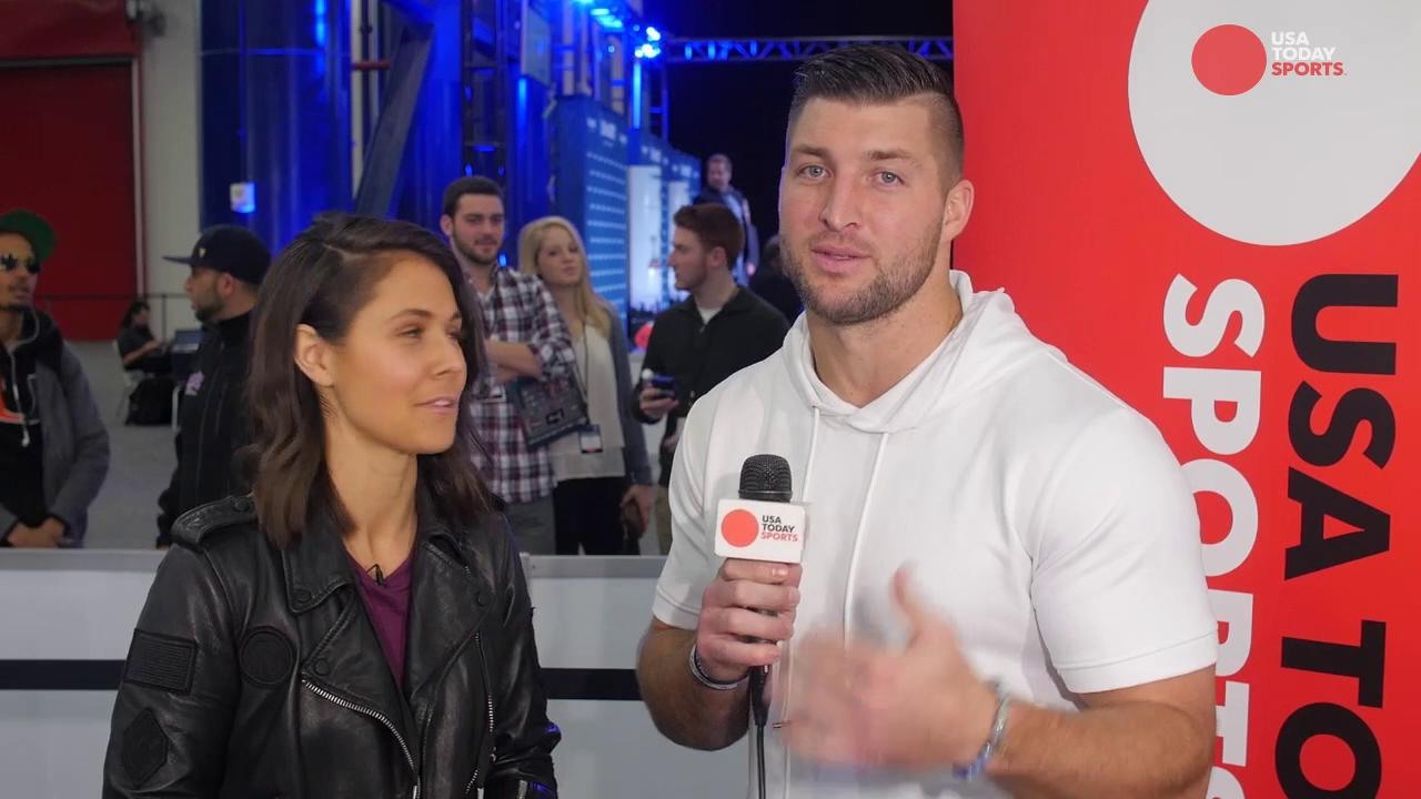 Tim Tebow talks nutrition and his baseball career with USA TODAY Sports on radio row at Super Bowl LI.