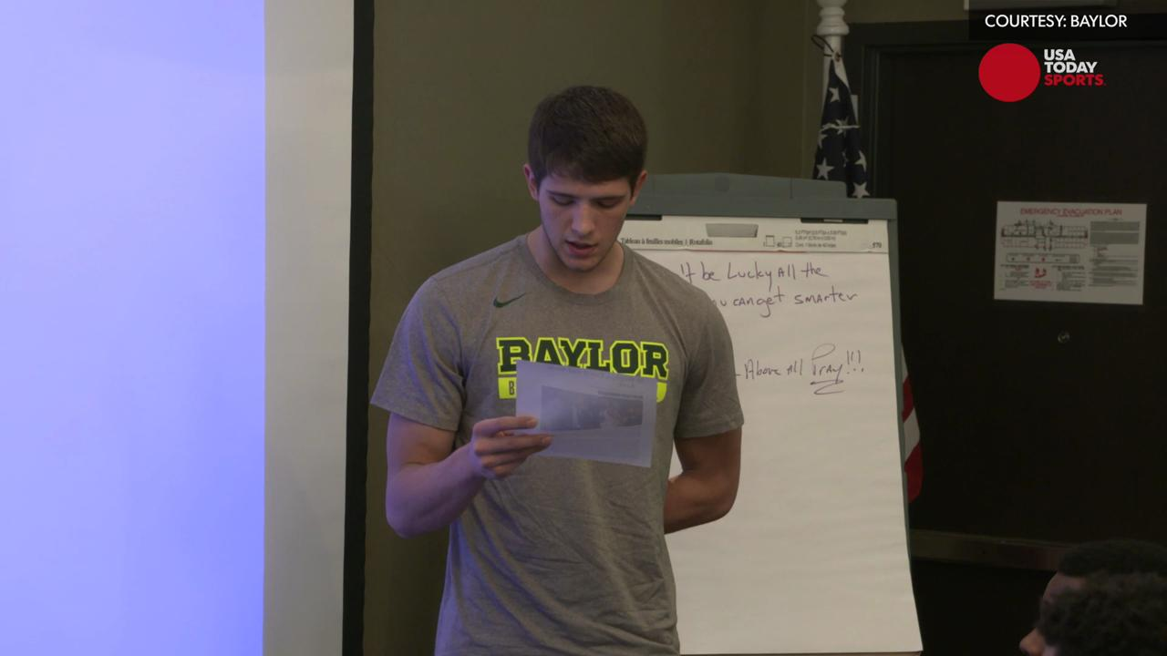 Baylor walk-on Johnathan Davis was asked to read an article about Steph Curry, but it turns out, he was also getting some pretty awesome news.