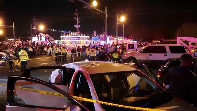 Police said 12 people were injured when a vehicle crashed into a crowd watching the Krewe of Endymion parade in the Mid-City section of New Orleans. (Feb. 25)