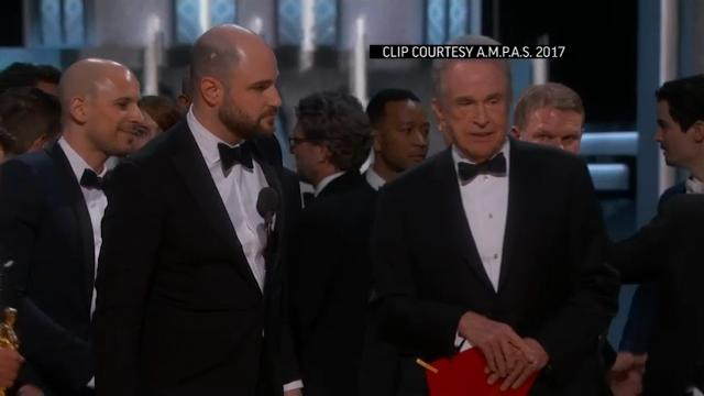 """""""La La Land"""" was announced as the winner of Best Picture at the Academy Awards before representatives for ballot tabulators Price Waterhouse Coopers raced onstage to try to stop the acceptance speech and announce that """"Moonlight"""" had won. (Feb. 27)"""