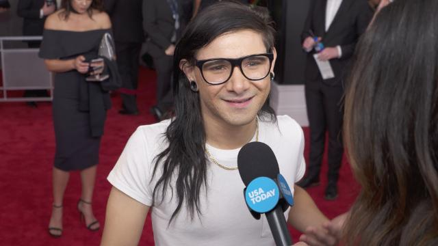 USA TODAY asks stars on the Grammys red carpet what songs they've been listening to that might surprise their fans.