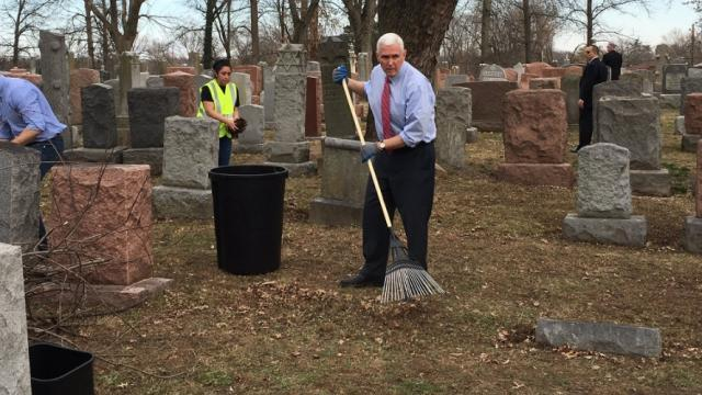 Vice President Pence joins cleanup at vandalized Jewish cemetery