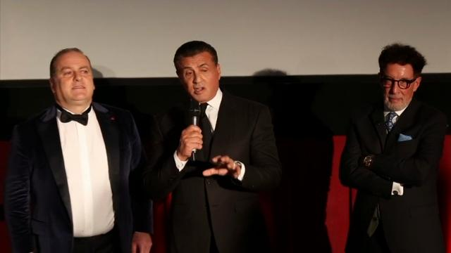 "Sylvester Stallone presents Mel Gibson with the best director award for ""Hacksaw Ridge"" at the LA Italia Fest. (Feb. 21)"