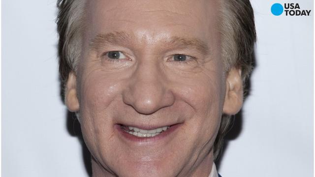 Bill Maher, left, listens to Milo Yiannopoulos, on