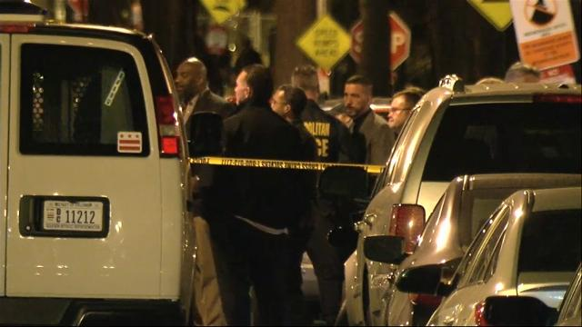 Authorities say two police officers were wounded and a suspect was killed in a shooting in Washington, D.C. late Thursday night. (Feb. 24)