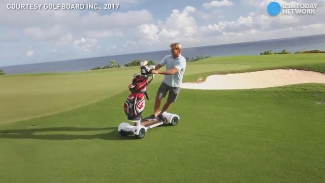 The GolfBoard is a free-wheeling, electric-powered board that helps golfers and their gear zoom around the course in style!