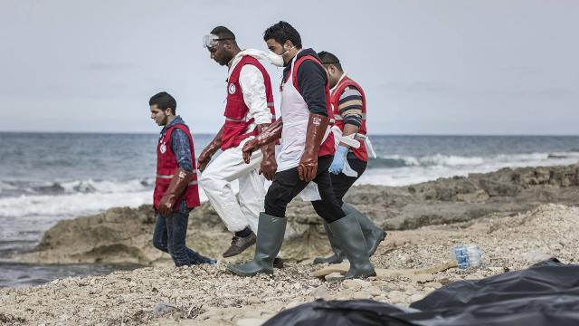 The Libyan Red Crescent spent hours recovering bodies believed to be migrants. Video provided by Newsy