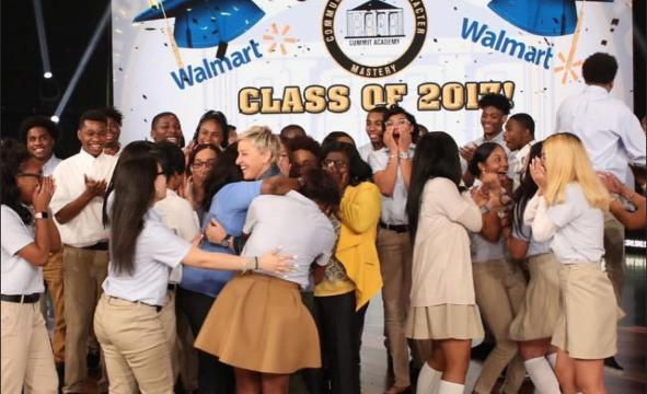 Ellen gives entire senior class college scholarships
