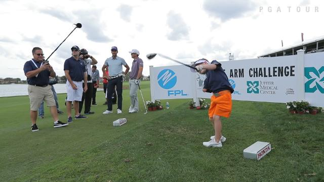 "Tommy Morrissey  faces off against PGA Tour players in the ""One Arm Challenge"" closest-to-the-pin competition."