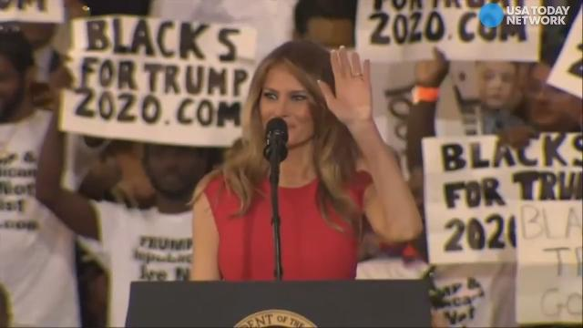 The First Lady Melania Trump introduces her husband with reciting the Lord's Prayer.