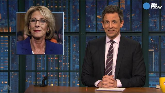 The late-night comics on the confirmation of Betsy DeVos. Take a look at our favorite jokes, then vote for yours at opinion.usatoday.com.