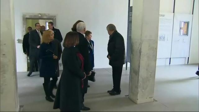 U.S. Vice President Mike Pence paid a somber visit to the site of the Dachau concentration camp on Sunday, walking along the grounds where tens of thousands of people were killed during World War II. (Feb. 19)