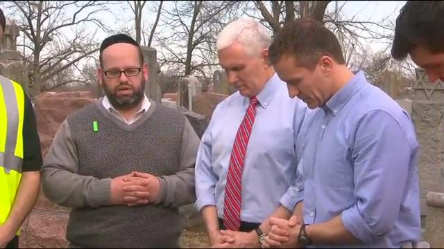 Vice President Mike Pence visited a suburban St. Louis Jewish cemetery where more than 150 headstones were damaged earlier this week. (Feb. 22)