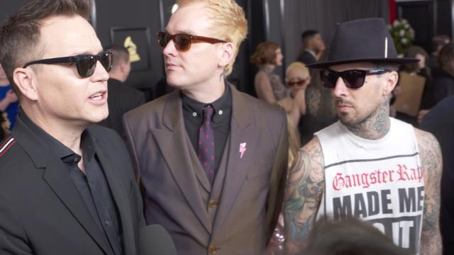 USA TODAY and Blink-182 tried to have a conversation on the Grammys red carpet while using Blink-182 song titles in every sentence.