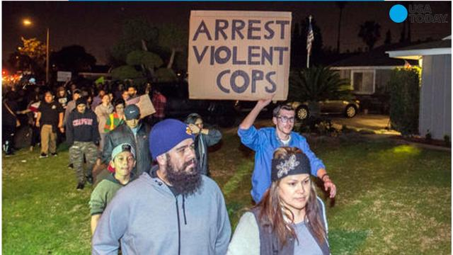 Violent protests broke out in Anaheim, California after a shooting involving an off-duty Los Angeles Police Department officer and teenagers.