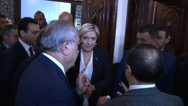France's far-right presidential candidate Marine Le Pen sparks controversy during her brief visit to Lebanon when she refused to wear a veil to meet the country's top Sunni Muslim cleric.