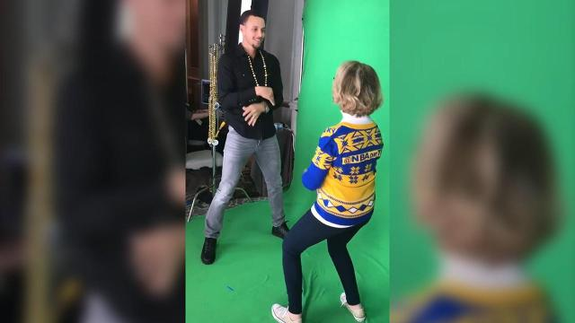 She's back and teaching Golden State Warriors All-Stars Steph Curry and Draymond Green some new dance moves.