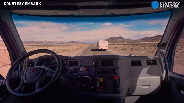 The driver's seat may be empty, but this truck knows where it's going.