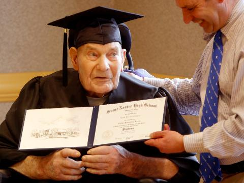 90-year-old man receives his high school diploma