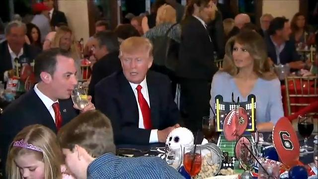 Raw: Trump Watches Super Bowl at Mar-a-Lago
