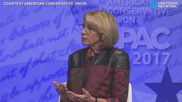 Secretary of Education Betsy DeVos said she believes matters like the transgender bathroom debate should be discussed at the local levels during an interview at CPAC.