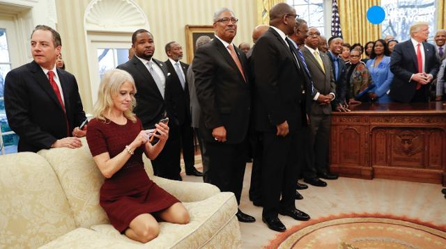 Kellyanne Conway puts her feet on Oval Office couch