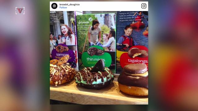 This shop is selling Girl Scout Cookie doughnuts