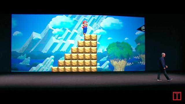 Apple managed to save a surprise for its iPhone 7 press event after all: It seems Nintendo's Mario is coming to the App Store as a running game dubbed Super Mario Run.
