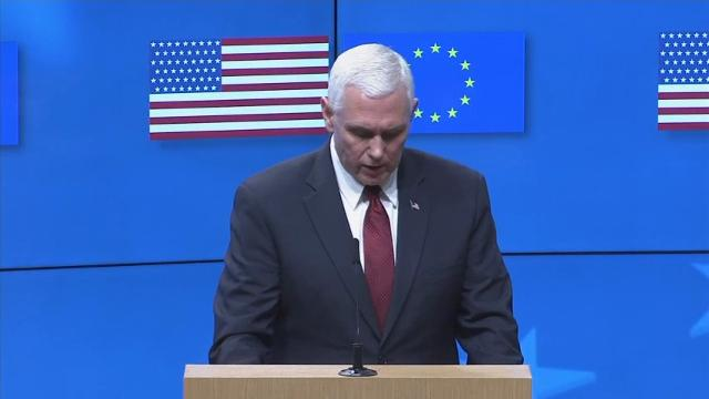Vice-President Mike Pence speaks during a press conference