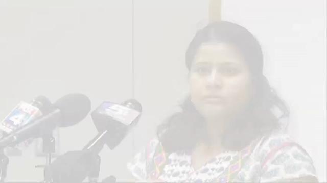 The wife of a man who was killed in a shooting at a suburban Kansas City bar says she wonders what the U.S. will do to stop hate crimes against minorities. Sunayana Dumala spoke at a news conference Friday organized by her husband's employer.