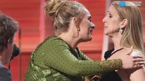 Well that was awkward...Adele and Celine Dion's on-stage hug was cringeworthy.