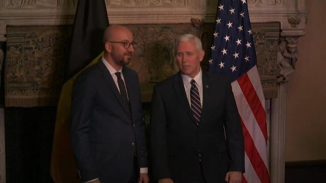 Vice-President Mike Pence was welcomed by Belgian Prime Minister Charles Michel on Sunday as he began his two-day visit to Belgium. His stop in Belgium is part of his first overseas trip as vice-president. (Feb. 19)