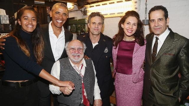 Barack and Malia attended the revival of Arthur Miller's 'The Price' on Broadway, starring Danny DeVito and Mark Ruffalo