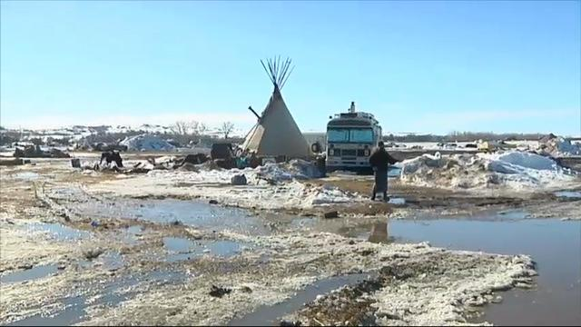 Federal and state officials announced plans Wednesday to accelerate cleanup at a camp in southern North Dakota that has housed hundreds and sometimes thousands of Dakota Access pipeline opponents. (Feb. 16)