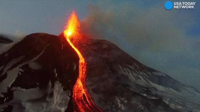 Mount Etna's lava spewing captured from drone