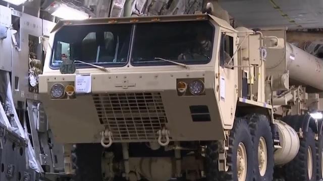 Raw: US missile defense equipment in South Korea