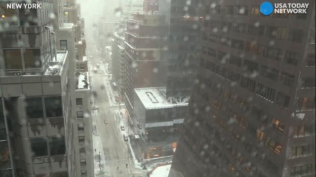 Watch this time-lapse of New York City from Tuesday morning as Winter Storm Stella moved in and dumped several inches of snow on the Big Apple.