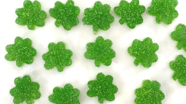 These gummy lime-flavored treats are sure to liven up your St. Patrick's Day festivities! Make this fun treat with applesauce, sugar, lime juice, zest, and gelatin. Be sure to top with sparkling sure and extra zest for a robust flavor!