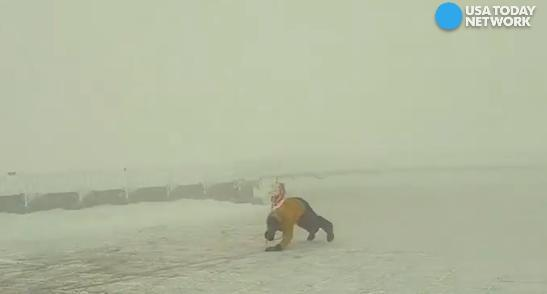 See what it's like to face 100+ mph winds head on